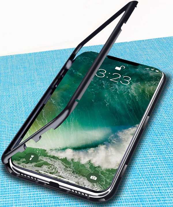 iPhone Xs metal frame tempered glass case.jpg